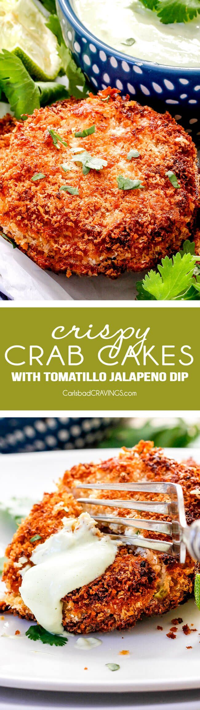 Easy, extra crispy, restaurant quality Crab Cakes right in your own home! Crispy on the outside, moist, juicy, flavor packed on the inside with the BEST DIP ever!!  You can also make ahead of time for stress free appetizers!  via /carlsbadcraving/