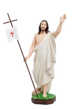 Gesù risorto cm. 50  altezza cm. 50 in resina vuota dipinto con colori acrilici  http://www.ovunqueproteggimi.com/collezione-statue/ges%C3%B9/risorto/