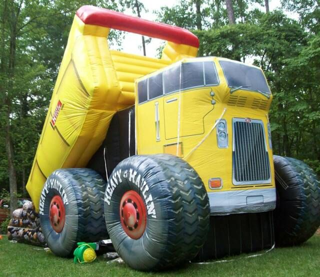 dump truck bounce house!- this would be awesome for a b-day party!!!