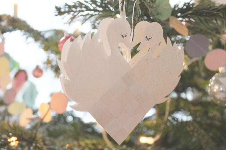 Julehjerte, DIY, flettede dobbeltsvaner #denkreativesky