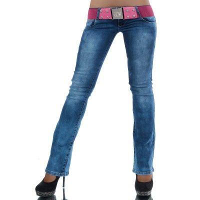 Jeans wijde pijpen stretch met ceintuur
