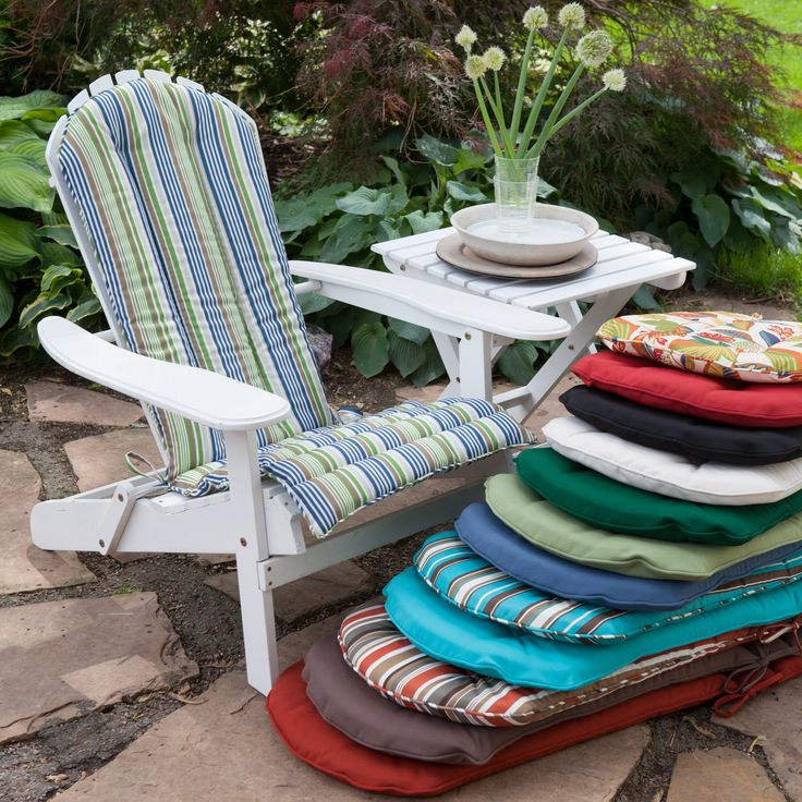 Have to have it. Coral Coast Adirondack Chair Cushion - $44.98 @hayneedle Cushion for anirondaks either in sage color or aqua stripe