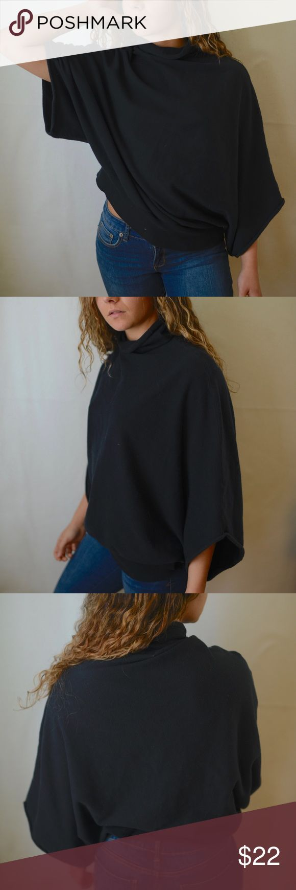 Cortefiel Black Dolman Turtleneck EUC black top from Spanish designer Cortefiel. Fits loose, slightly cropped with wing sleeves. Cape like effect. Comfy cotton material. Very minor pilling as shown  Bundle to save!!! Cortefiel Tops