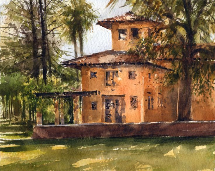 Sherry Schmidt - Plein air watercolor at Alverno School, Sierra Madre, CA, 8x10""