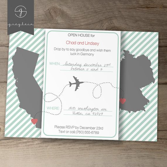 Moving / Going Away Party Invitations / Invites / Announcements - DIY Printable / custom / map