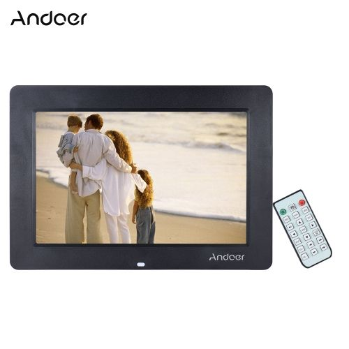 Andoer 13 Wide Screen HD LED Digital Picture Frame Digital Album High Resolution 1366*768 Electronic Photo Frame with Remote Control Multiple Functions Including LED Clock Calendar MP3 MP4 Movie Player Support Multiple Languages