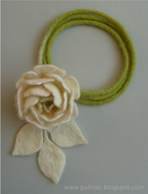 I think I will use a soft wire and hang around the neck in an unfinished circle....hmm