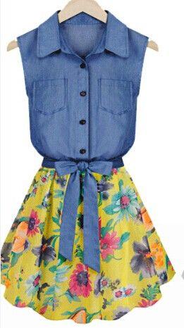 VESTIDO FLORAL CON CAMISA VAQUERA Colores: Blanco, Amarillo Talla: 36-S, 38-M, 40-L, 42-XL Precio: 32.99€  www.cocoylola.es #cocoylola #moda #vestidos #tiendaonline #shop #españa