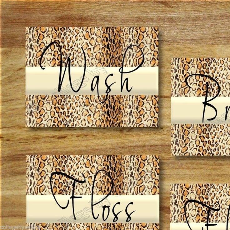 Leopard Bathroom Cheetah Print WORD Art Wall Decor WASH FLOSS BRUSH FLUSH Animal