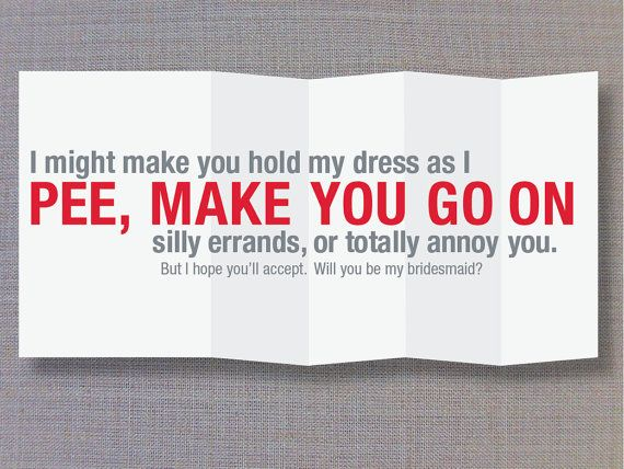 Funny fold out bridesmaid card