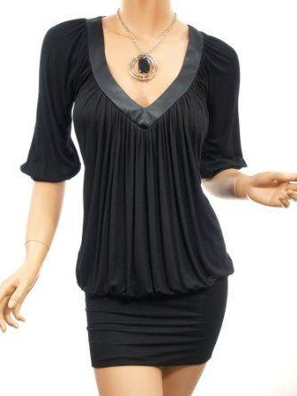 Patty Women Ruched V Neck Dropped Waist Evening Clubwear Mini Dress