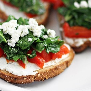 Tartines with Goat Cheese, Red Peppers and Swiss Chard