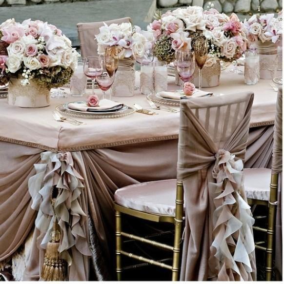 Pale Pink Ruffled Wedding Table Design ♥ Dream Wedding Decorations