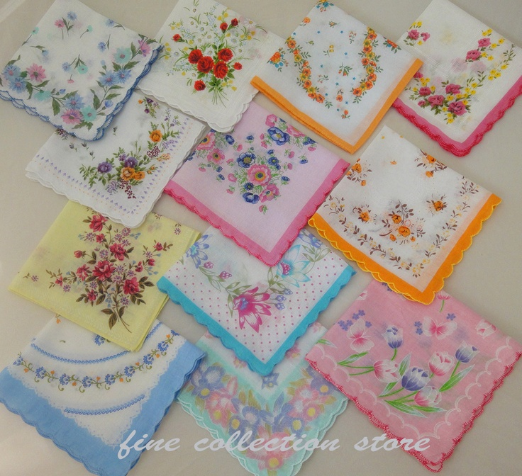 Vintage Handkerchiefs. I had a collection similar to this one, which had belonged to my mother and grandmother. I gave them away on Freecycle, to a woman who was to make a quilt with them.