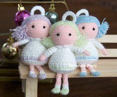 Cómo tejer ángeles a crochet en la técnica del amigurumi! Ideal para Navidad, souvenir de Primera Comunión o Bautizo!