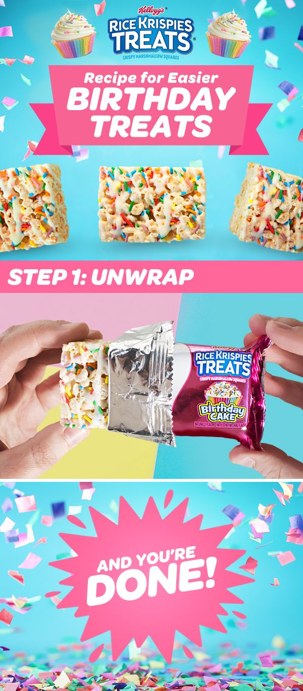 Planning a #birthday #party? Enjoying your favorite birthday treats has never been easier with NEW #BirthdayCake #RiceKrispiesTreats!