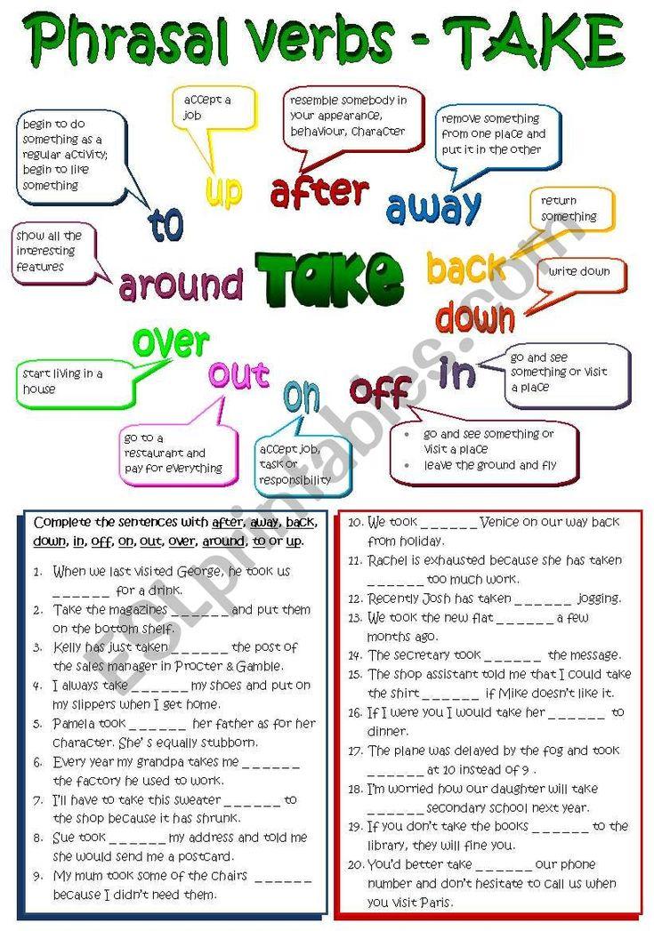 Phrasal verbs TAKE (B&W + KEY included) REUPLOADED ESL