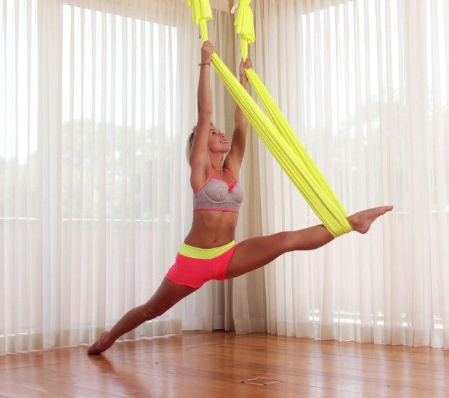 Master yogis can practice their inversions with these hanging silks.