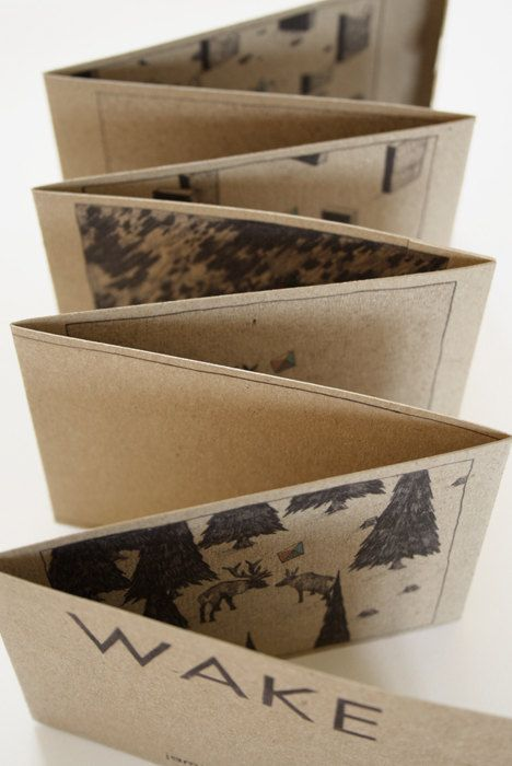 Nice simple idea, cards could be slotted into each page.  WAKE / Concertina Book by JamieMilk on Etsy, £3.50