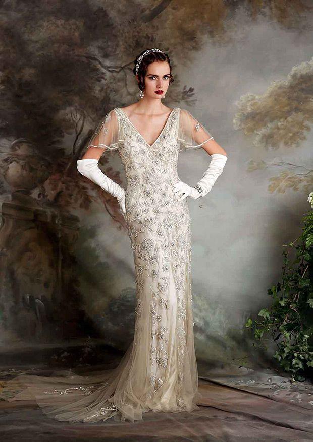 Vintage Inspired Eliza Jane Howell Ginger Embellished Wedding Dress | www.onefabday.com
