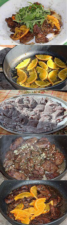 Куриная печень по-итальянски с апельсинами