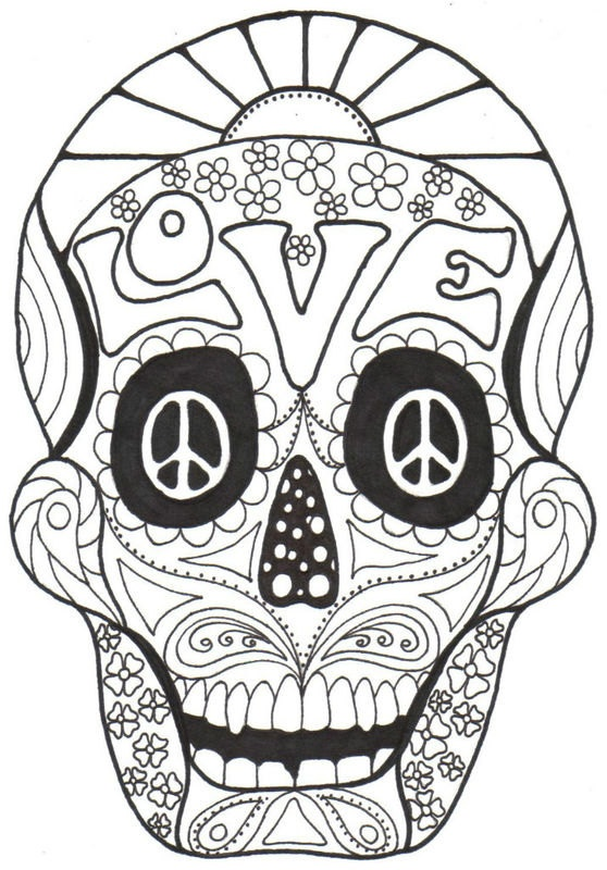 american hippie art color it yourself psychedelic day of the dead sugar - Psychedelic Hippie Coloring Pages