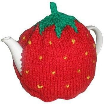 knitted tea cosy: Strawberry Tea Cosy by Katya Frankel on the LoveKnitting blog