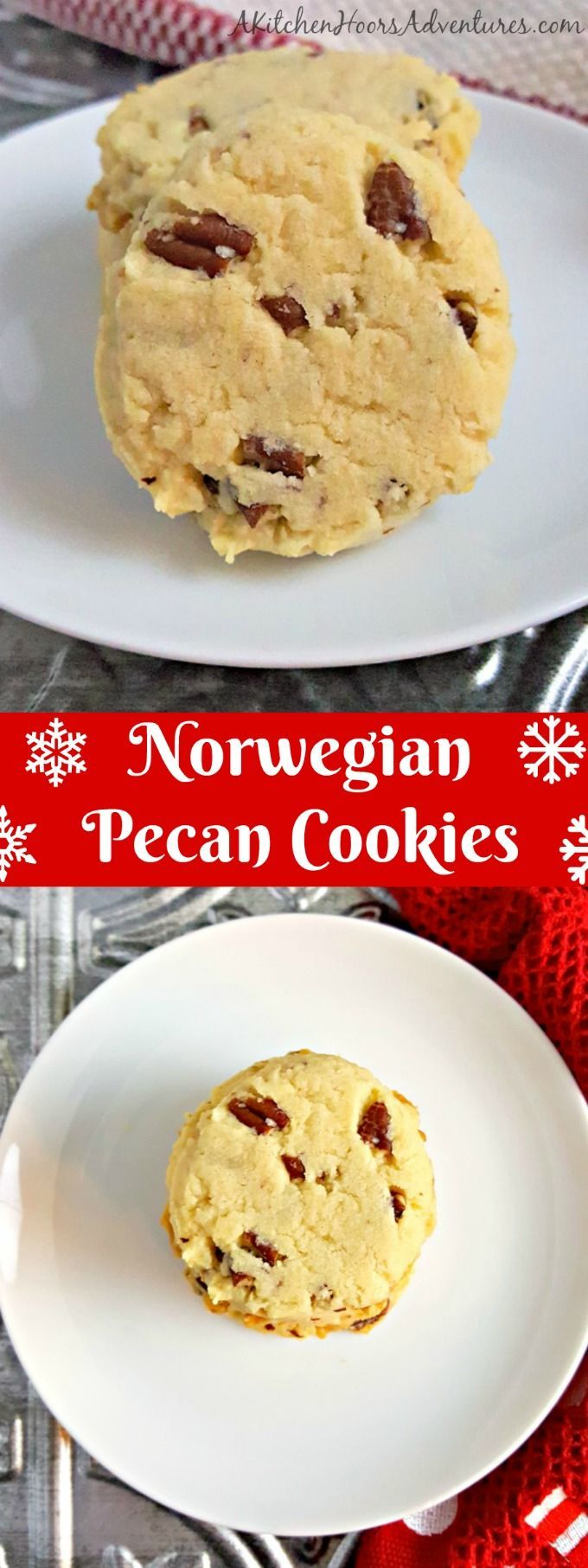 These Norwegian Pecan Cookies smell like Christmas. They are buttery and light with delicious pecans scattered throughout. The perfect finale to 12 Days of Cookies. #ChristmasCookies