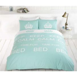 Buy Rapport Keep Calm King Quilt Set Duck Egg from our King Duvet Covers range - Tesco.com
