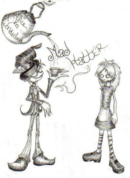 Gothic Mad Hatter and Alice by animejunkie106.deviantart.com on @deviantARTBurton Mania, Rabbit Hole, Wdw Parks, Gothic Mad, Mad Hatters, Arty Stuff, Disney Gem, Wonderland Inspiration, Parks Bit