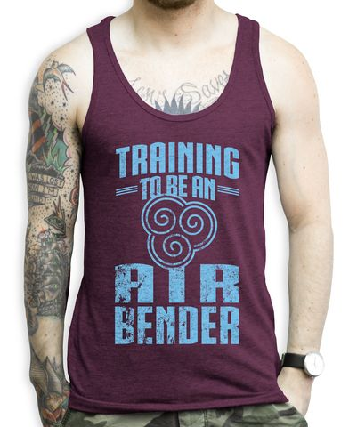 Training To Be an Air Bender (blue) on an Tri Cranberry Unisex Tank Top