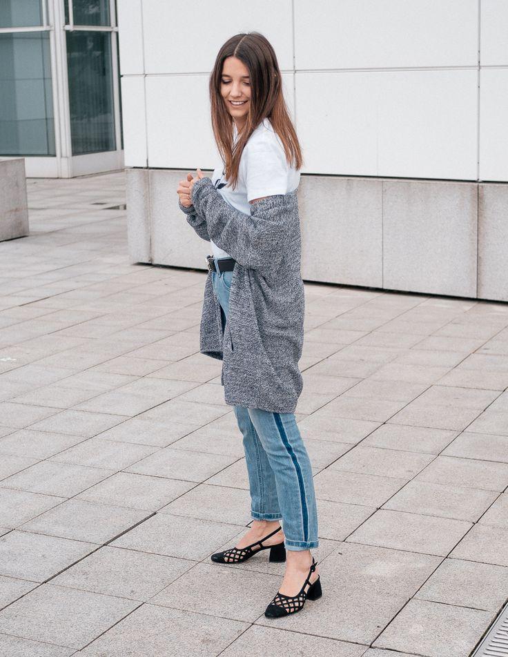 Denim Outfit and Logo Shirt | Black Sling Back Shoes