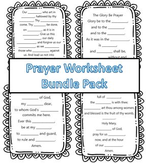 Little Miss Catechist: Prayer Pack Bundle! Great for CCD, Sunday School, and Catechism, Kindergarten, 1st Grade, 2nd Grade, and 3rd Grade! Includes the Our Father, Hail Mary, Glory Be, and Guardian Angel Prayer!