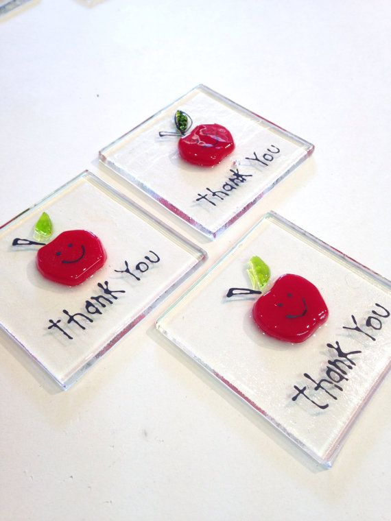 Thank You Teacher Token Hand Made Fused Glass gift by HotFritShop