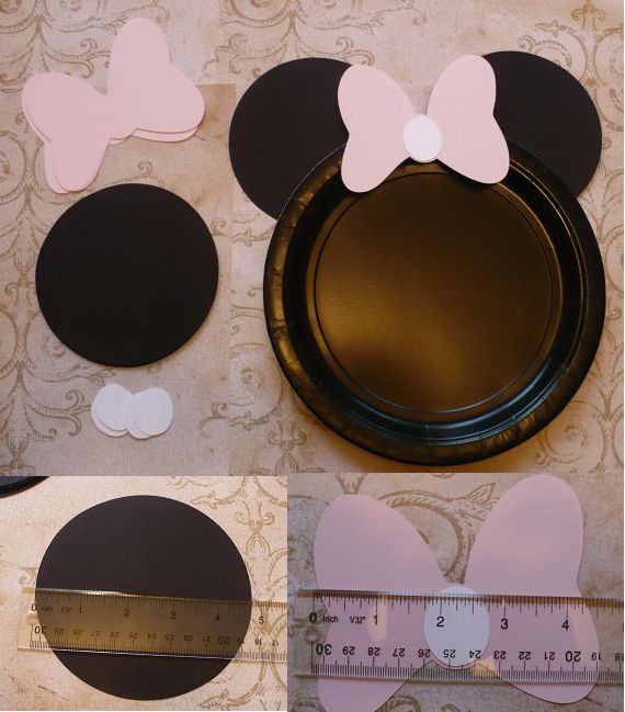 Minnie Mouse DIY Craft Birthday Plate Black Circle Pale / Very Light Pink Bows Shapes Die Cuts DIY Kids Birthday Party Cricut Circle Shapes