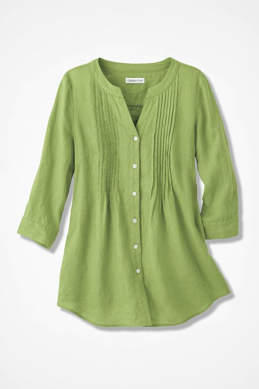 Coldwater Creek Tucked Linen Tunic - willow green