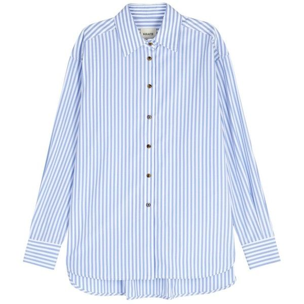 KHAITE Maria Blue Striped Poplin Shirt - Size S (14 615 UAH) ❤ liked on Polyvore featuring tops, blue stripe shirt, blue top, blue striped shirt, striped shirt and striped top