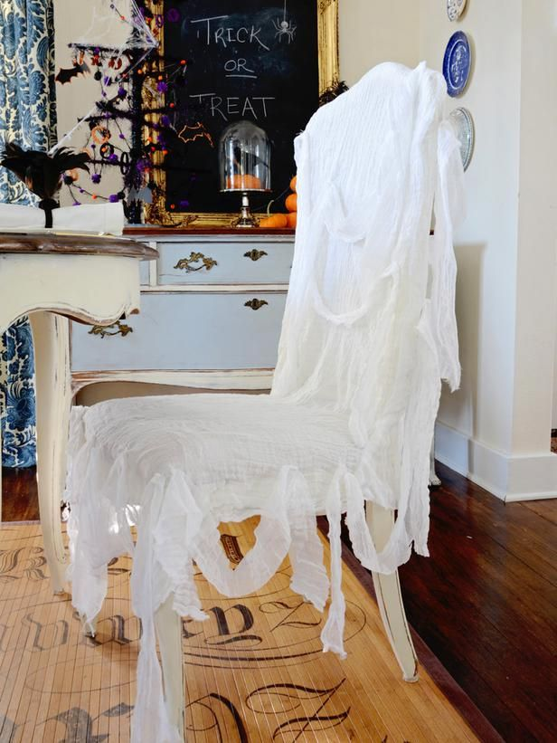Easy-Sew Ghostly Chair Slipcover Use gauzy fabric and cheesecloth to give a