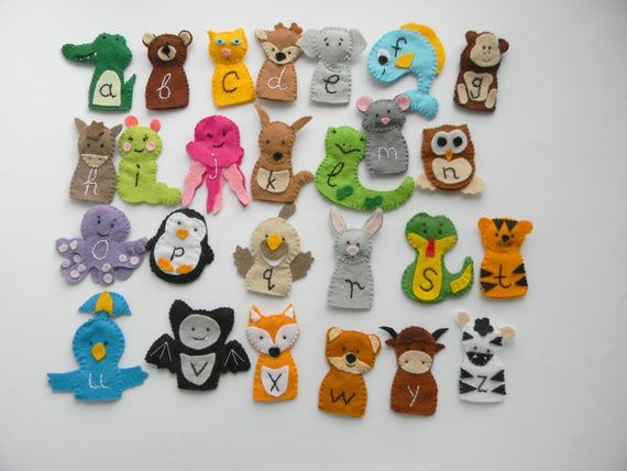 26 Zoo Phonics Animals Felt Finger Puppets Wool Felt Finger Puppet Set Christmas Gift Stocking Stuffer Felt Finger Puppets Zoo Phonics Finger Puppets