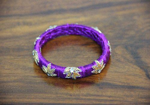 Thin Purple Zardozi Bangle – Desically Ethnic