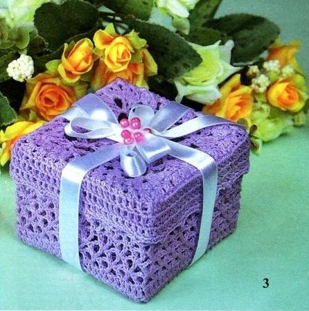 Crochet purple box with diagram