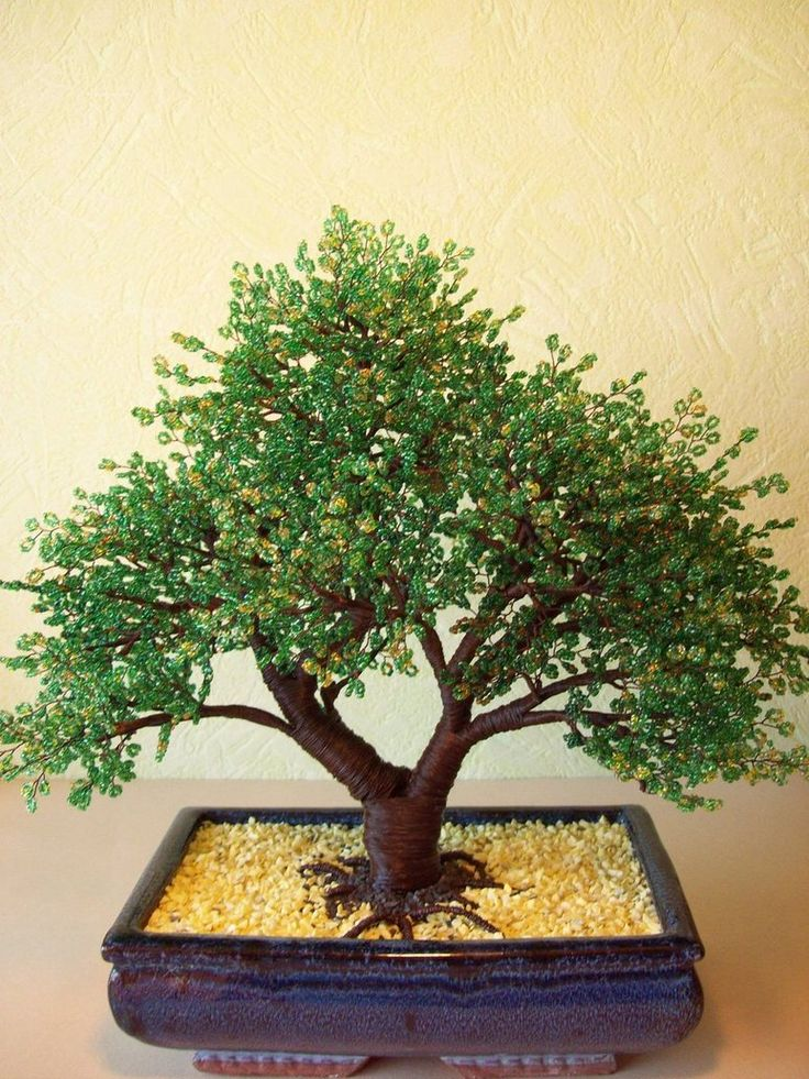 Beaded bonsai tree for Grandma's new zen Fairy Garden that Grandpa doesn't have to water