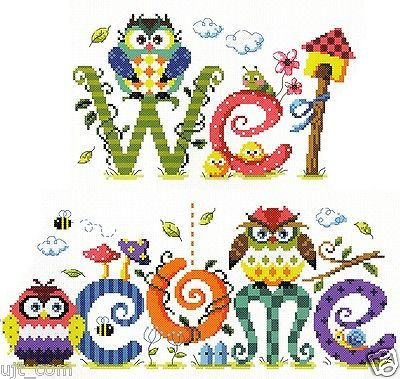 """""""Owl welcome"""" Counted cross stitch pattern leaflet. SODA SO-G64"""