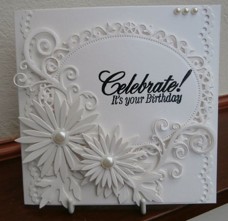 handmade wedding cards ireland%0A All white card  floral ovals and delicate aster dies