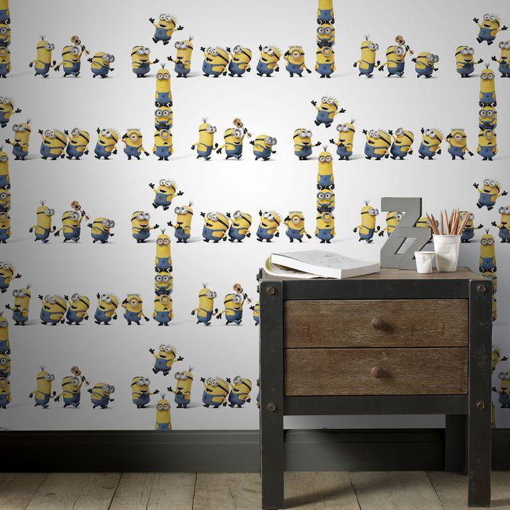 Roliga Minions på väggen från kollketionen Kids@Home 5, 103144. Klicka för fler skojiga tapeter till barnrummet!