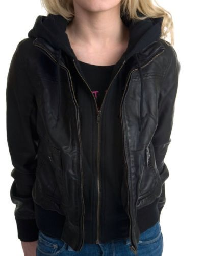 Ladies black faux leather bomber jacket – Modern fashion jacket ...