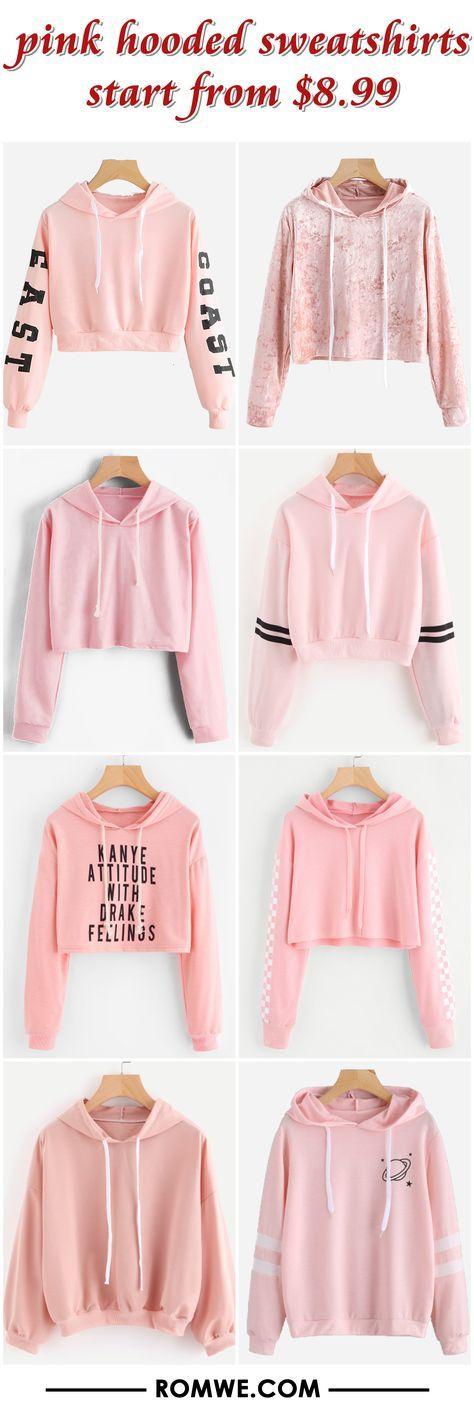 pink hooded sweatshirts - romwe.com