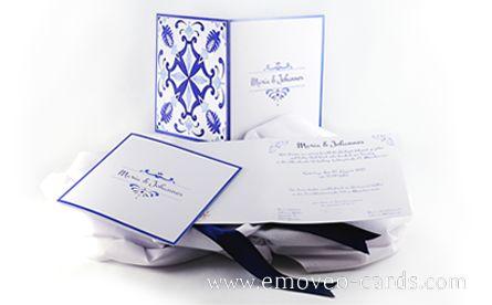 Blue Wedding card Azulejo by e-MoVeo cards  invito matrimonio blu in stile piastrelle portoghese  Blau Hochzeitseinladung inspiriert von den traditionellen Fliesen der portugiesischen Kultur  http://www.emoveo-cards.com/