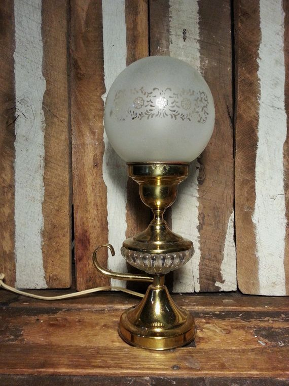 Vintage Brass Amp Glass Genie Lamp Lantern Style Retro Mid