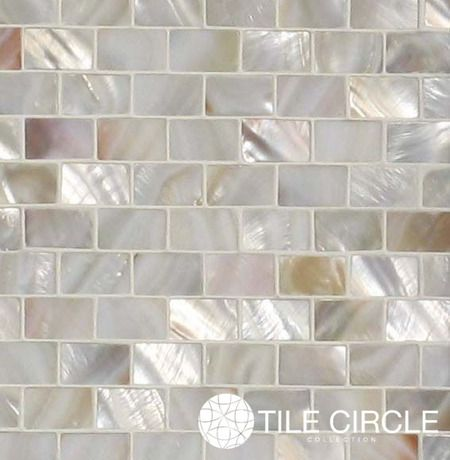 "Mother of Pearl Natural Varied Minibrick 5/8"" x 1"" Subway Tile for kitchen backsplash tile, bathroom wall and floor tile and pools"